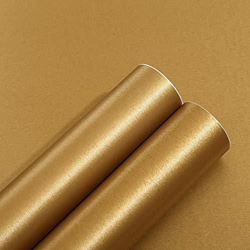 Autoadhesivo Oro cepillado Metal Acero inoxidable Película de vinilo para lavavajillas Nevera Refrigerador Estufa Electrodomésticos Muebles Etiqueta de la pared Papel extraíble Impermeable 40CMX3M