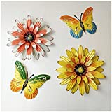 Homlory Metal Butterfly and Flower Wall Decor Outdoor Wall Art, Metal Wall Art Outdoor Wall Decor Handing for Bathroom, Bedroom, Living Room, Outside Garden, Fence, Patio, Yard Decor, 4 Pack