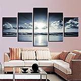 adgkitb canvas Wandkunst Hd Abstrakte Wandmalerei 5 Stücke Nordic Dekoration Home Küche Landschaft Dekoration Malerei Welle Seascape Rahmen