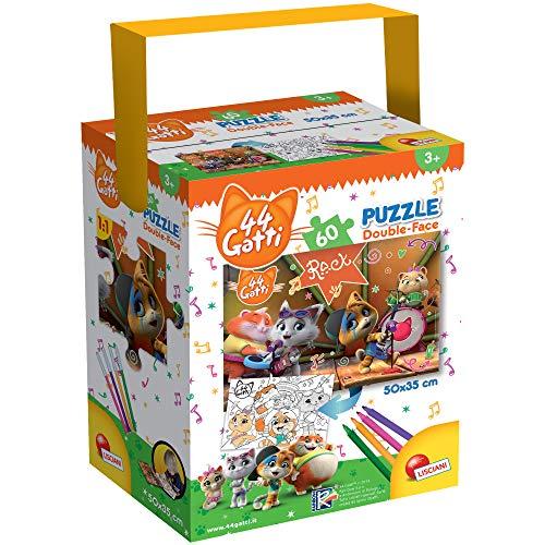 Liscianigiochi-44 Gatti Cats Rock Puzzle in a Tub Mini, Multicolore, 60 Pezzi, 76598