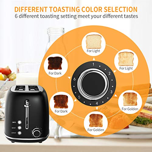 Morpilot Toaster Grille-Pain Rétro 2 Fentes Acier Inoxydable,6 Niveaux Réglables,3 en 1 de Fonctions de Grille-pain,Décongeler,Réchauffer,815W Rapide Fonction