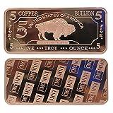 Metal Art Collection - 5 oz Five Troy Ounce USA American Buffalo .999 Fine Copper Bullion Bar Ingot Cu Element CMCMINT