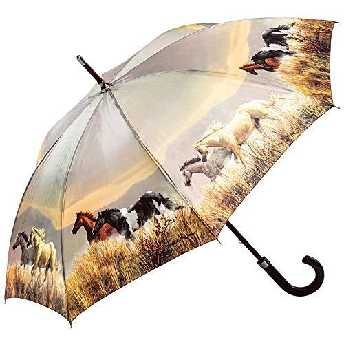 Regenschirm Stockschirm Herren Damen Motivschirm Pferde