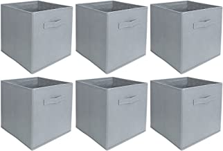 PureBasics Collapsible Fabric Storage Cubes Organizer with Handles - Pack of 6 (Light Gray)