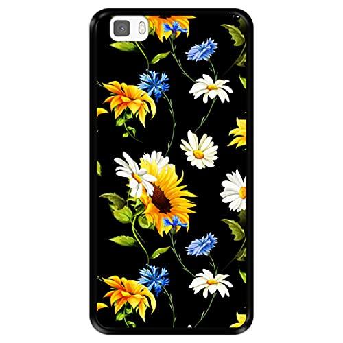 Funda Negra para [ Huawei P8 Lite ] diseño [ Patrón Floral, Flores Multicolores 2 ] Carcasa Silicona Flexible TPU
