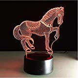 Running Horse 3D Lámpara LED Night Light 7 colores Atenuación Ilusión Lámpara de dormitorio Cute Zebra Animal Gift para niños