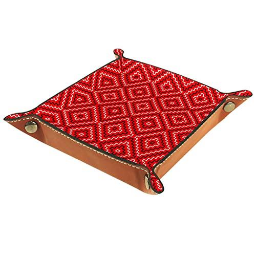 Bandeja plegable de cuero para guardar joyas, organizador de maquillaje, almacenamiento para llaves, monedas, relojes, joyas, dados, bandejas, geométricas rojas