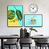 Impresión en Lienzo Mural HD Planta Verde nórdica Hoja Fruta Pintura en Lienzo Limón Naranja Póster e impresión Imágenes artísticas de Pared para Sala de Estar Dormitorio Habitación de niños