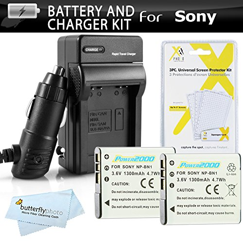 2 Pack Battery And Charger Kit For Sony Cyber-Shot DSC-W530, DSC-W620, DSC-W650, DSC-W610, DSC-W800, W800/B, W800/S, DSC-W830, DSCW830/B, DSCW830, DSC-WX220 Digital Camera Includes 2 Extended Replacement (1300Mah) NP-BN1 Batteries + Ac/Dc Travel Charger +