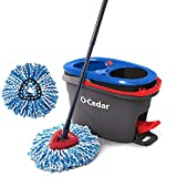 O-Cedar EasyWring RinseClean Microfiber Spin Mop & Bucket Floor Cleaning System with 1 Extra Refill, Grey