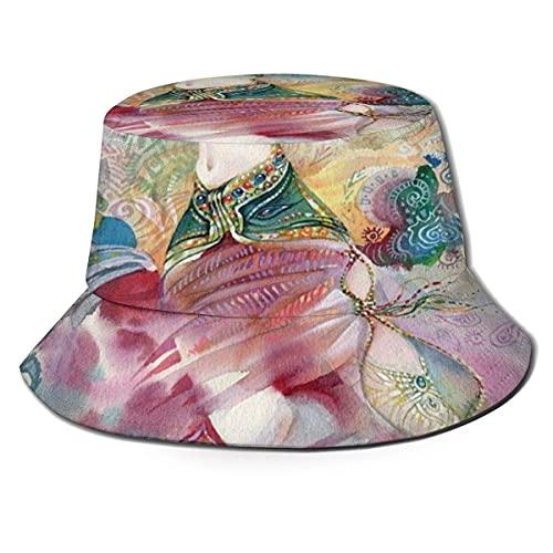 Gorra de Pescador Unisex con Tema de Danza Oriental Chica Joven con Traje Tradicional Figura de fantasía Sombrero de Playa de Viaje de Verano