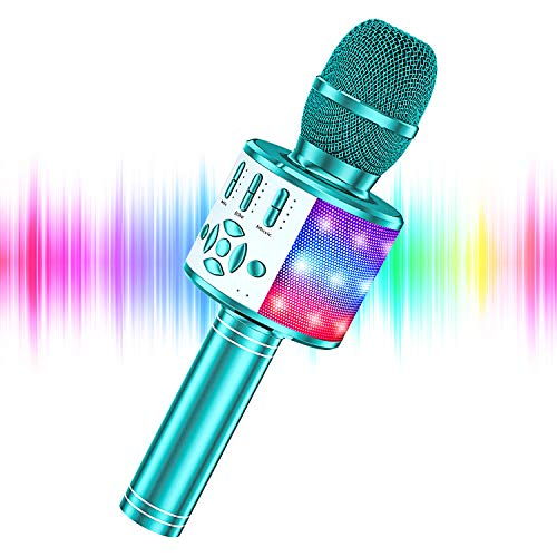 YOHIA Portable Handheld Karaoke Microphone for Kids, Hot Toy Gifts for Girls Teens, Wireless Bluetooth Mic for Android/iPhone/iPad (Blue Plus)