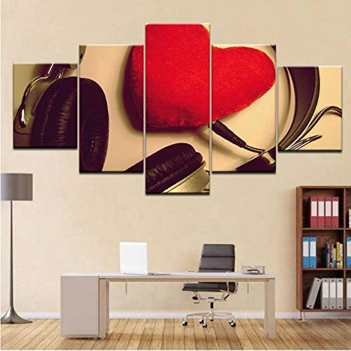 Wuyii 5 paneel/stuks HD-druk, voor het opnemen van de hoofdtelefoon, hartjes, rood, liefde voor mode, wandposters, canvas, kunst, schilderij voor huis, woonkamer, decoratie 30x40cmx2/30x60cmx2/30x80cmx1