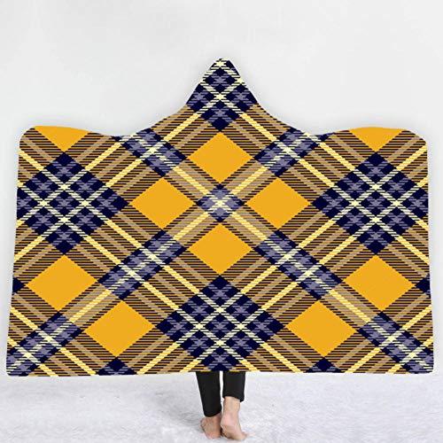 PANDAWDD capuchondeken mantel eenvoudig geometrisch geruit heren dames 3D grappig kerstmis draagbare deken fleecedeken knuffeldeken tv-deken met capuchon voor volwassenen 150 x 200 cm