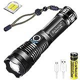 Torcia LED USB Ricaricabili, Potente 4000 Lumen XHP50 Torcia LED Militare Ultra Luminosa, USB Torcia Elettrica con 18650 Batteria, Regolabile Focus e 5 Modalità di Illuminazione