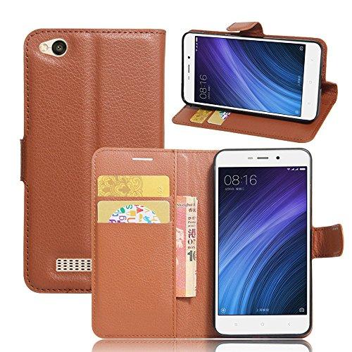 Ycloud Tasche für Xiaomi Redmi 4A Hülle, PU Ledertasche Flip Cover Wallet Hülle Handyhülle mit Stand Function Credit Card Slots Bookstyle Purse Design braun