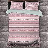 Toopeek Romántico paquete de 3 (1 funda de edredón y 2 fundas de almohada) patrón de rayas horizontales con corazones y puntos femeninos moderno poliéster (completo) rosa pálido marrón oscuro