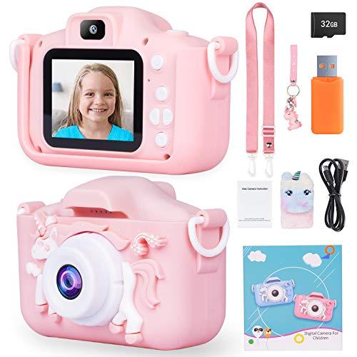 ArtCWK Kids Camera Birthday Gifts for 5 6 7 8 Year Old Girls Upgraded Unicorn Digital Child Camera 8X Zoom HD 1080P Video 32GB SD Card UnicornBag&Pendant Included (Pink)