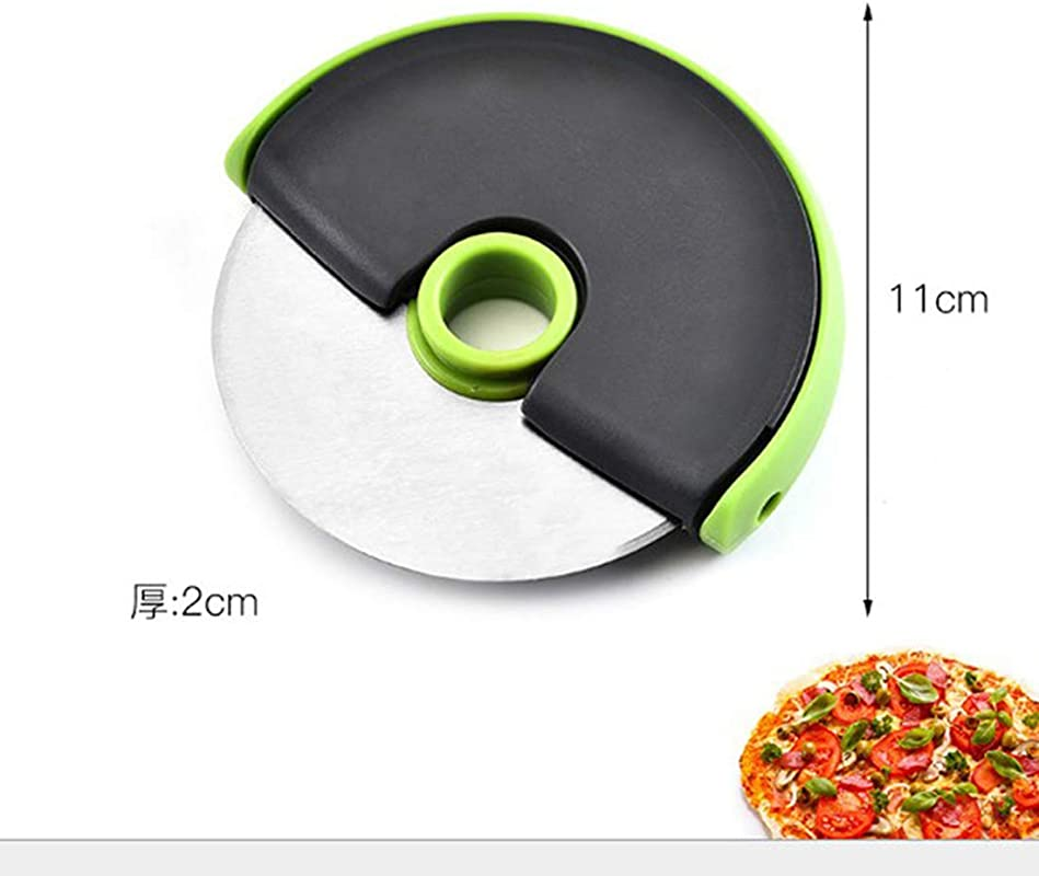 Pizza Round Knife Stainless Steel Sharp Pizza Cutter Wheel Slicer Including Protective Blade Cover Durable Professional Ergonomic Design Round Multi Purpose Easy To Clean Green