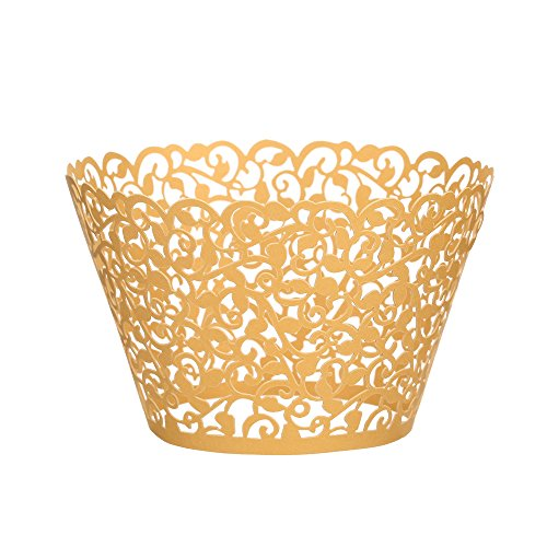 Cupcake Wrappers 100 pcs, fretwork Filigree Bake Cake Paper Cups Wrappers, latticework lacework Artistic of Baking Cup Muffin Case Trays for Wedding Birthday Party Decoration (yellow)