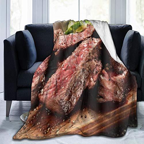 GKGYGZL Couverture de Flanelle Fine et Confortable,Prime Black Angus Steak Burger Medium Rare Degré de Cuisson du Steak Impression Graphique,Couverture de climatisation 40x50