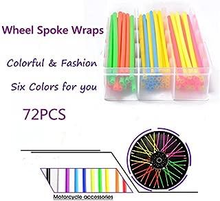 Redcolourful 72PCS Universal Motorcycle Dirt Bike Spoke Skins Covers 17cm Long Multicolor Wraps Wheel Rim Guard Protector with Towel