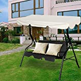 Wenhu 2-3 Seats Outdoor Awning Garden Swing Chair Sun Shade Sail Polyester Waterproof Top Cover for Courtyard Gazebo Hammock Tent,150x95cm