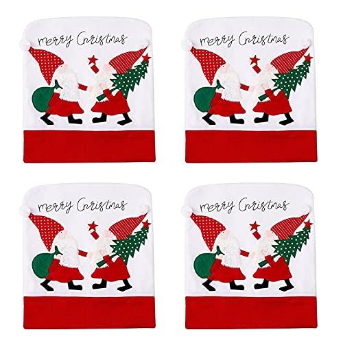 UELEGANS 4 Pcs Fundas para Sillas De Navidad Conjuntos De Gorro De Navidad Decoración Fundas Protectoras para Sillas Temáticas De Navidad Fiestas Y Celebraciones Navideñas
