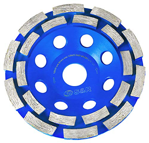 S&R Mola a Tazza Diamantata/Disco Abrasivo Diamantato 125 per Calcestruzzo, Pietra, Muratura, Mattoni. Universale 2 file per smerigliatrice 125 (Blu Moderno)