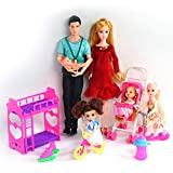 UCanaan Family Dolls Set of 6 People with Dad Pregnant Mom 3 Daughters and Baby Boy in Mommy's Tummy and 40 Accessories for Education and Birthday Day Gift