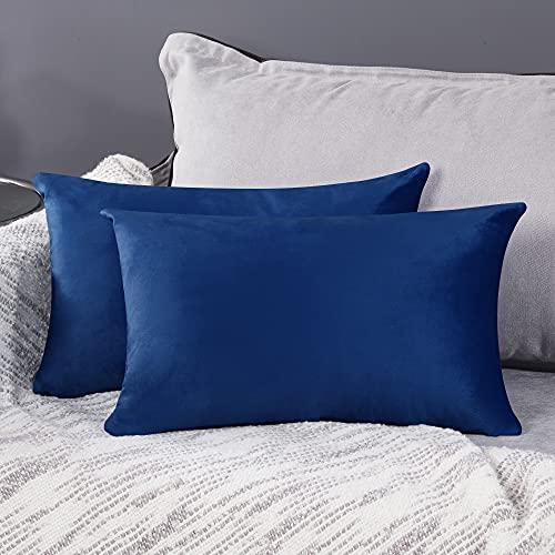 Deconovo Fundas para Cojines de Almohada del Sofá Cubierta Suave Decorativa Protector para Hogar 2 Piezas 30 x 50 cm Azul Marino