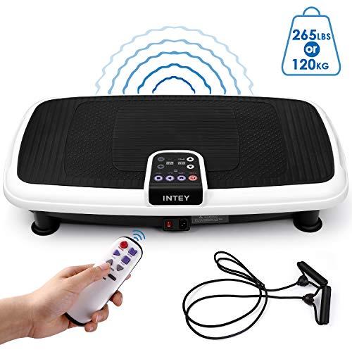 INTEY Plateforme Vibrante Oscillante 3D pour Fitness, 6 en 1 Multifonctions/2 Bandes Elastiques/3 Zones de Vibration/20 Niveaux de Vitesse, Contrôlé par Ecran/Télécommande, Conception Antidérapante