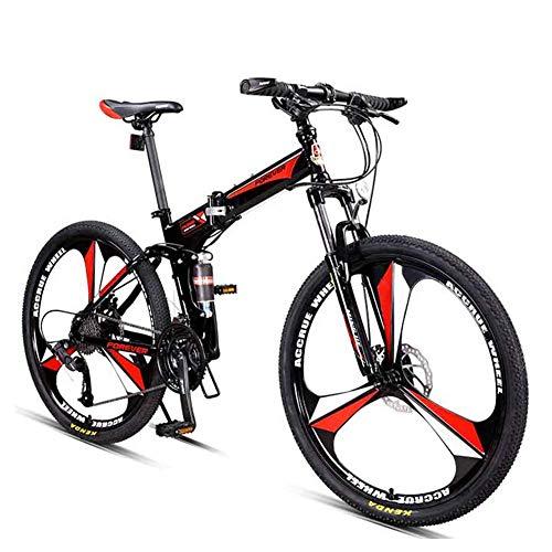Qj Bicicletas De Montaña, 27 Overdrive Velocidad De 26 Pulgadas De Montaña Bicicleta De Pista, Marco Plegable De Acero De Carbono De Alta Rígidas De Bicicletas De Montaña,Rojo