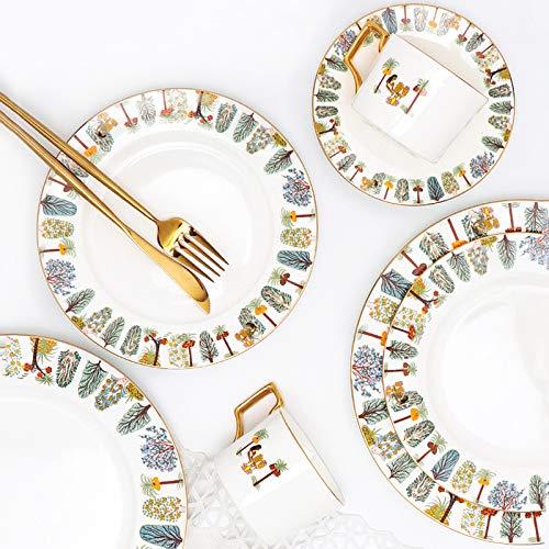 Juego Vajilla Conjunto de vajillas de porcelana de 8 piezas Conjuntos de placa de cena pintados a mano creativos Cocina para el hogar Plato de cerámica para bistecas de espagueti ensalada de gofres pl