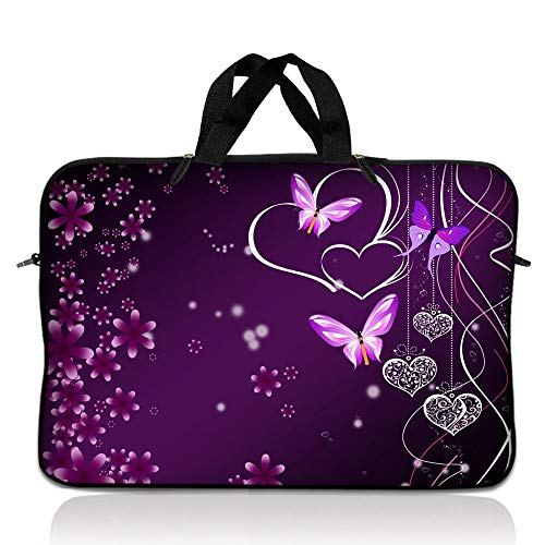 LSS 14.1 inch Laptop Sleeve Bag Carrying Case Pouch with Handle for 14' 14.1' Apple Macbook, GW, Acer, Asus, Dell, Hp, Sony, Toshiba, Purple Heart Butterfly