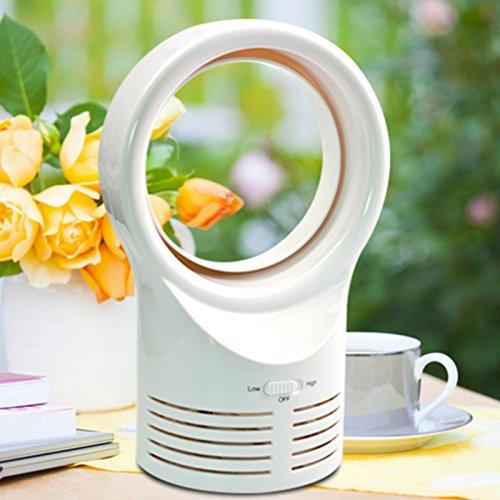 lzndeal Mini Bladeless Ventilator schlafen elektrische Kühlung Super leise zwei Geschwindigkeit Air Fans (Weiß,EU Plug)