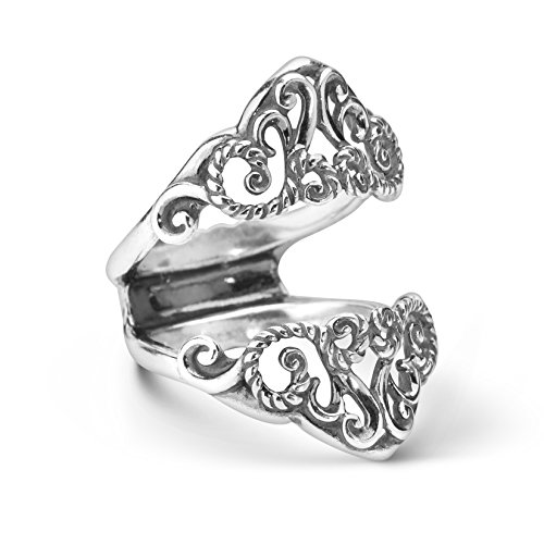 Carolyn Pollack Sterling Silver Filigree Guard Ring Size 7