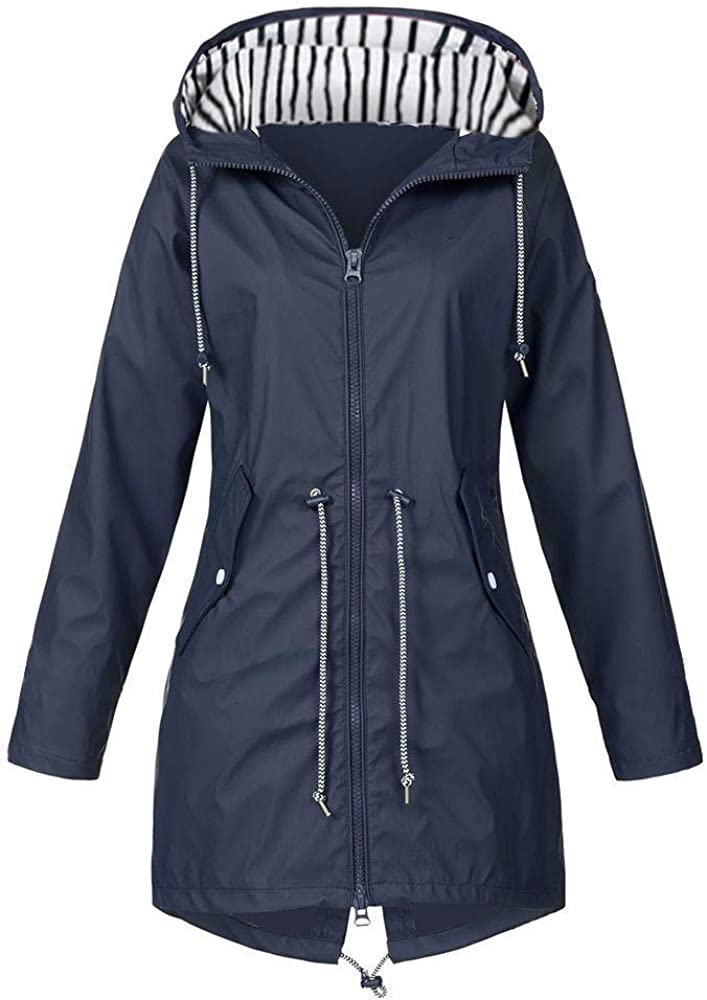 Women's Travel Jacket With Hidden Pockets Overcoat Solid Windbreaker Outwear Jackets Hooded Raincoat Windproof Coat