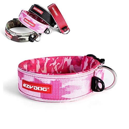 EzyDog Neo Wide - Halsband Hund breit, Hundehalsband für Große Hunde | Neopren gepolstert, reflektierend, wasserfest (L, Rosa Camo)
