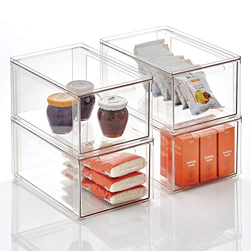 mDesign Plastic Stackable Kitchen Storage Box with Pull-Out Drawer - Container for Kitchen Pantry Cabinet FridgeFreezer - Organizing Snacks Produce Vegetables Pasta Food - 4 Pack - Clear