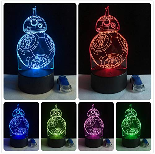 Death Star BB8 R2D2 Regalos creativos 3D Luz de noche LED lámpara de mesa de dormitorio decoración de mesa para aficionados a la película toque 7 colores