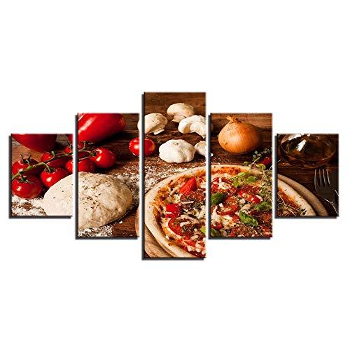 Quadro su tela Pizza 200x100cm Quadri Moderni Stampa su Tela Moderni Murale per Soggiorno Camera da Letto 5 Pezzi Senza Cornice