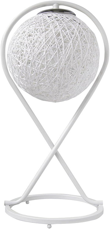 Dimmen Tischlampe, postmoderne einfache Metallkunst dekorative LED-Leuchten, modische Hanf Ball Schlafzimmer Nacht Wohnzimmer E27 Licht (wei) HUACANG