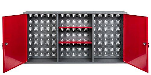 Kreher Werkstattschrank aus Metall mit 2 abschließbaren Türen, zwei höhenverstellbaren Einlegeböden und einer Lochwand. Lackiert in Rot. Maße BxTxH ca.: 120 x 19 x 60 cm.