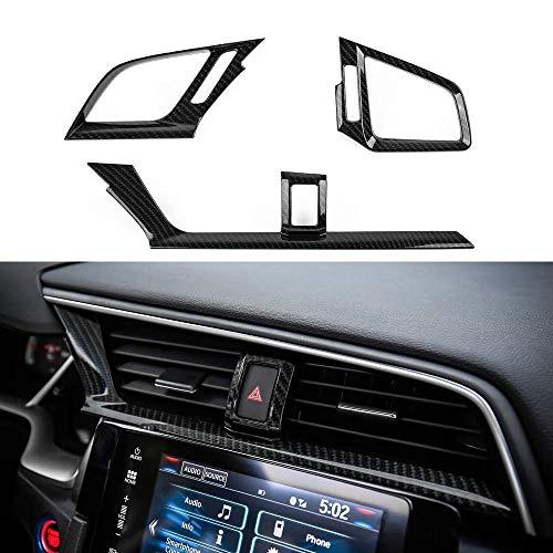 L&U ABS Carbon-Faser-Art Center Consoles Entlüfterelement Windauslassöffnung Borte Innendekoration Aufkleber für Honda 10. Gen Civic 2016-2020