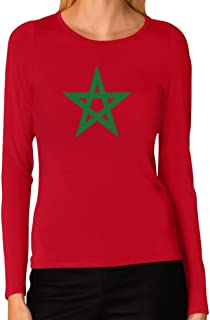 Morocco Flag Vintage Style Retro Moroccan Women Long Sleeve T-Shirt