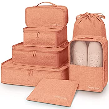 Luggage Organizer,Mossio 7 Set Waterproof Toiletry Carry On Luggage Packing Organizers Coral