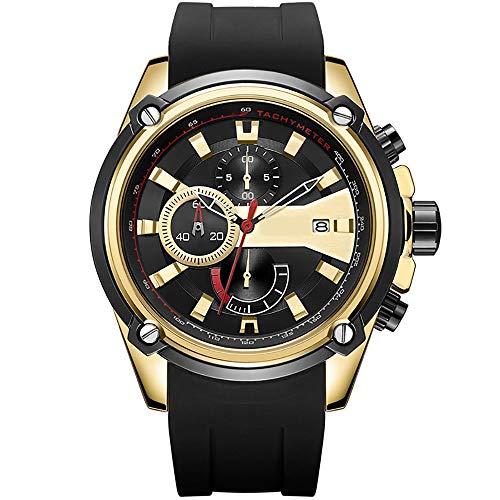 Voigoo Luxusmarken-Goldquarz-Uhr-Chronograph-Männer Sportuhren Mann-Silikon-Datum Uhr Wasserdicht Relogio Masculino