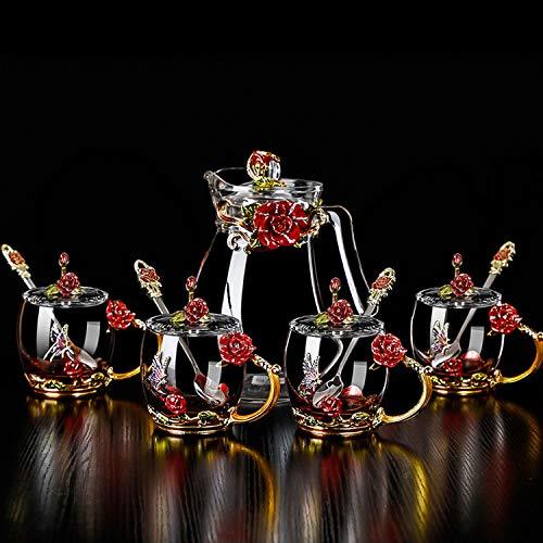 Crystal Glass 3D Butterfly Flower Tea Cups and Mug Set