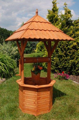 Deko-Shop-Hannusch Puits décoratif en bois enduit 2,15 m + toit 1,10 x 1,10 m